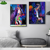 Wholesale impressions painting for sale - Group buy Super Star Michael Jackson Singing Oil Painting On Canvas Impression Singer Portrait Oil Paints Living Room Fashion Home Decor