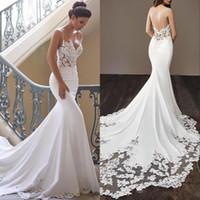 Wholesale crystal mermaid wedding dress bridal gown resale online - New Cheap Spaghetti Backless Mermaid Wedding Dresses Satin Lace Applique Sweep Train Wedding Bridal Gowns Custom Cheap