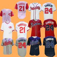 Wholesale Deion Sanders Baseball Jersey Stitched Atlanta Braves Cincinnati Reds Red White Blue Cream Grey
