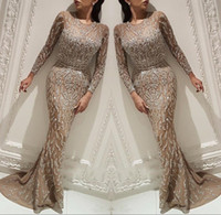 Wholesale red prom dress stones resale online - 2019 Luxury Arabic Illusion Mermaid Long Evening Dresses Sheer Long Sleeves Beaded Stones Floor Length Formal Party Prom Gowns BC0704