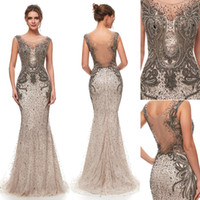 Wholesale wedding dress sequin back strap for sale - 2019 NEW Great Gatsby Vintage Mocha Luxury Beaded Mermaid Evening Dresses Wear yousef aljasmi Sheer Neck Cap Sleeve arabic Prom Formal Gowns
