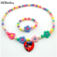 Wholesale cabochon hearts for sale - Group buy 2018 New Arrival Pendant Flower Star Beads Necklace Glass Cabochon Heart Shape Necklace Jewelry Gift For Kids