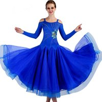 Wholesale white women costume online - 2019 New Royal blue women modern dance competition costumes High quality new ballroom dance dress Rhinestone tango waltz dancing dress