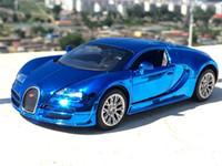mini colección de coches de juguete al por mayor-1:32 Bugatti Veyron Modelo de coche de aleación de alta simulación con Pull Die Diecast Car Children Toys Car Collection J190525
