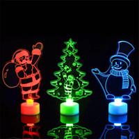 küçük yılbaşı ağacı hediye toptan satış-Yaratıcı Renkli Akrilik Küçük Noel ağacı Noel Kardan Adam Santa Gece Işığı Hediye Noel Dekorasyon Çocuk oyuncakları