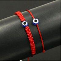 rote böse augenschmuck großhandel-20 stücke / 10 sets Glücklich Türkischen Bösen blick Braid Armband Rot Blau Seil Thread String Männer Frauen Chakra Armbänder Paare Schmuck
