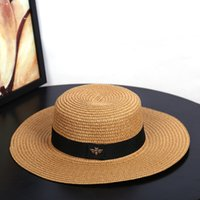 Wholesale gold flat brim hat resale online - Sun Hats Small Bee Straw Hat European and American Retro Gold Braided Hat Female Loose Sunscreen Sunshade Flat Cap Visors Hats