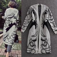camisola cinza feminina venda por atacado-Mulheres Grosso Camisola Cardigans Outono Cinza Moda Bonita Menina Impresso Long Coats Capa