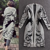 suéter gris niñas al por mayor-Suéter grueso para mujer Cárdigans Otoño Gris Moda Chica bonita Impreso Abrigos largos Capa