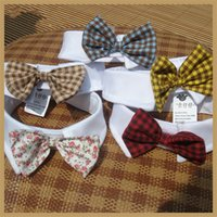 Wholesale personalized dog collars for sale - Group buy Adorable Pets Dog Collars Resto Vintage Plaid Floral Printed Cat Bow Tie British Style Pet Necktie cm zz E1