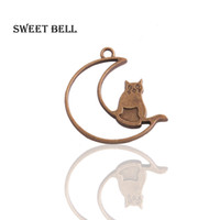 Wholesale handmade floats resale online - 120 mm Antique bronze Moon smile Cat Charms Pendants for Jewelry Making DIY Handmade Craft Floating locket B22