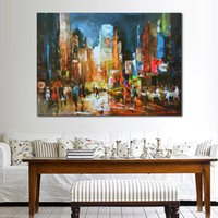Wholesale new modern oil painting resale online - wall art abstract Paintings New York City Landscapes Willem Haenraets modern painting oil on canvas Hand painted colorful art for home deco