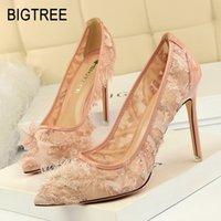 penas de flores para sapatos venda por atacado-Bigtree shoes new mulheres bombas primavera mulheres shoes sexy salto alto stiletto pena flor casamento festa sexy