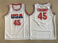 Wholesale free shipping basketball team jerseys for sale - Group buy Mens Donald Trump Movie Basketball Jersey Dream Team One Fashion Stitched Basketball Shirts White