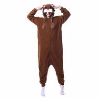 juegos de pijama al por mayor-Animal Brown Mouse Onesie Kigurumi Pijama divertido Mujeres adultas de una pieza de dibujos animados Ropa de dormir Festival Carnaval Juego exterior Trajes