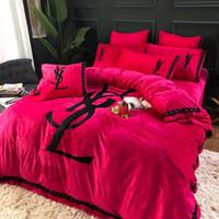 conjunto de roupa de cama de edredon de cetim vermelho venda por atacado-Impressão floral Jogo de Cama Moda Lençol Capa de Edredão Fronha 3-4 Pcs Consolador Capa Conjunto de Presente Para Casa Têxtil