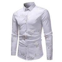 vestidos casuales de oro blanco al por mayor-Flor rosa que broncea la camisa blanca de los hombres 2018 Luxury Gold Foil Print manga larga para hombre camisas de vestir casuales para hombre Camisa Masculina # 388736