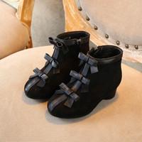 topuk ayakkabıları kız çocukları toptan satış-2019 Sonbahar Kış Moda Kız Boots Yaylar Çocuk Boots kızlar topuklu ayakkabılar prenses çocuk ayakkabıları kız Martin botları çocuk ayakkabıları