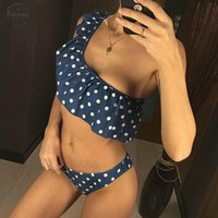 um ombro bikini swimsuit venda por atacado-New Sexy Bikini Set um ombro Terno Swimwear Mulheres Ruffle Swimsuit Biquinis Sólidos de banho Beachwear Brazilian Bikini Biquini