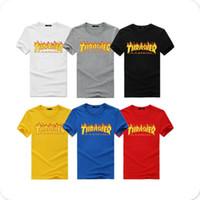 casais miúdos venda por atacado-1500 # 8 Cor S-3XL New Thrasher Chama Dos Homens Das Mulheres Dos Miúdos Top Tee Camiseta Skate Revista Casal