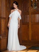 vestido de fiesta blanco talla 18 al por mayor-Tamaño vestidos de fiesta nupcial Belleza blanca gasa de marfil cabestro en cascada de las colmenas de la envoltura de la boda vestidos de novia de la boda de encargo 2-18 WW212190