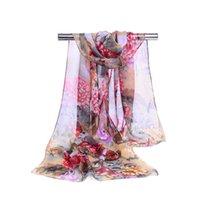 dama peonía al por mayor-Lujo creativa gasa de las mujeres de impresión bufanda de la manera del patrón de flor del Peony originalidad bufandas retro señora Beach Chales TTA1225