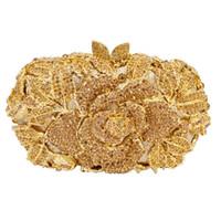 bolso de embrague flor oro al por mayor-Dgrain Luxury Gold Crystal Purse Evening Clutch Bag Rose Flower Mujer Metal Box Minaudiere Wedding Party Dinner Diamond Bag
