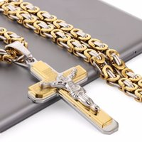 Wholesale byzantine crosses for sale - Group buy Crucifix Jesus Cross Necklace Stainless Steel Christs Pendant Gold Byzantine Chain Men Necklaces Jewelry Gifts quot cm Nz015 J190620