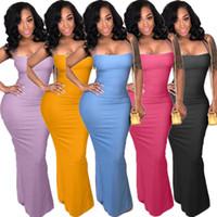 vestidos de festa europeus venda por atacado-Vestidos de mulheres Vestidos de Festa Sexy backless Pure color Após a divisão roupas femininas tamanho Grande Verão Europeu EUA venda Quente