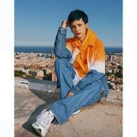 jaqueta de outono para mulher venda por atacado-Mens and Womens luxo Casacos Meninos Rua Personalidade Gradiente Jacket Mens Designer Denim Jacket 2019 Autumn Tendência Estilo Moda de Nova