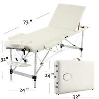 Wholesale body bedding for sale - Group buy WACO Portable Massage SPA Bed Sections Folding Aluminum Tube Adjustable Headrest Facial Beauty Body Building Salon Table Kit White