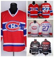camisolas venda por atacado-Atacado 2016 Camisas de Hóquei dos homens Montreal Canadiens # 27 Alex Galchenyuk Jersey Estrada Branco Autêntico Costurado Jersey CH logotipo