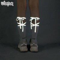 harajuku yüksek çoraplar toptan satış-Waatfaak Yansıtıcı Strappy Bandaj Çorap Komik Çorap Kadın Kelimeler Gri Harajuku Bisiklet Uzun Uyluk Yüksek Çorap Pamuk