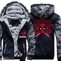 Wholesale dead hoodie for sale – custom High Quality Winter Jacket Men New Fashion Streetwear Punk Style Camouflage Raglan Hoodies Men DEAD POOL Hip Hop