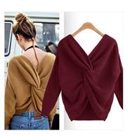 offene pullover großhandel-Neue Damen-V-Ausschnitt-Pullover mit offenem Rücken und unregelmäßige Quer Verknoten zurück Twist lässigem Stricktop
