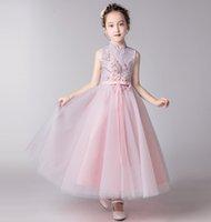 vestidos de niña bonita flor de plata al por mayor-Bastante rosa / Made vestidos del desfile de los vestidos de flores niña vestidos de fiesta de la princesa de la falda del niño de encargo de plata del tobillo apliques chica 2-14 H315381