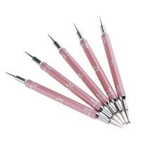 tırnağara sanat fırçaları araçları nokta toptan satış-Profesyonel 5 Parça 2 Yollu Salon Süsleyen Kalem Nail Art Resim Manikür Nokta Fırça Araçları Set