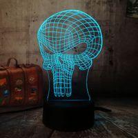Wholesale hero decor for sale - Group buy 3D Figure Punisher Hero Skull LED Table Lamp Night Light Home Decor Color Atmosphere Bedroom Desk Holiday Novelty Kid Gift Toy