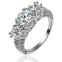 beyaz safir halka düğün toptan satış-Sıcak satış ! 5 adet / grup Klasik kadın Takı Nişan Hediye Beyaz Safir Moda 925 Gümüş Alyans