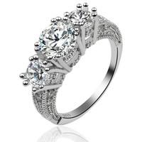anéis de noivado de safira para mulheres venda por atacado-Venda quente ! 5 pçs / lotes clássico das mulheres de presente de noivado de jóias branco safira moda 925 anel de casamento de prata
