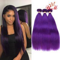 trama del pelo humano del color púrpura al por mayor-Paquetes de tejido de cabello brasileño púrpura Trama doble 3 paquetes Extensiones de cabello humano recto Remy Hair Weave 10
