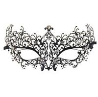 filigraner stein großhandel-Strass Metall Luxus venezianischen Laser geschnittene Maskerade filigrane Maske (schwarz / weiße Steine)