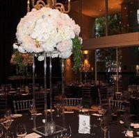 flores para decorações do casamento venda por atacado-Novo estilo claro alto Casamento acrílico Mesa de cristal Mesa de Casamento Colunas de Flores Suporte para Mesa decoração