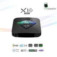 bluetooth fernmedien großhandel-Android 8.1 TV-Box 4 GB 64 GB Amlogic S905X2 Quad-Core-Dualband-WiFi Bluetooth 4G 32G Media Player-Unterstützung Sprachfernbedienung R-TV X10 Pro