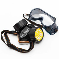kauçuk kontrol toptan satış-Çift Can Antivirüs Maskesi Yetişkin Dalış Gözlük Yangın Kontrol Yüz Maskeleri Toz Geçirmez Gözlük Filtre Tankı Üç Parçalı Takım Kauçuk 8 5zx C1