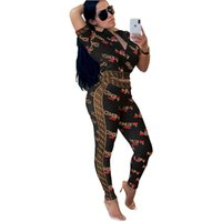 ingrosso calzamaglia donna-Pantaloni da donna Summer Pants Tuta F Letter Printed 2Piece Outfit Maniche corte Crop Giacche Top + Tights Leggings Sportssuit Body C434