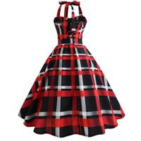 schwarzes kleid rockabilly großhandel-Spaghetti Strap Fashion Red und Black Plaid Party Midi Kleider für Frauen Elegant Vintage Retro Rockabilly Casual Dress