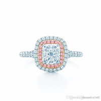Wholesale princess brand jewelry for sale - Group buy Brand jewelry Sterling Silver ring Princess cut ct Diamond Pink Surround Pave setting cz Wedding Band Rings For Women Girl gift