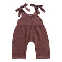 Wholesale girl denim suspender overalls pants resale online - INS Must have Baby Girls Overalls Pants Kids Girls Rompers Pants Brown Gray Solid Toddler Outfits Sleeveless Belt Baby Girls Boys Bib Pants