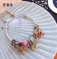 ouro robô venda por atacado-Rose pulseira de ouro para as mulheres presente de jóias de luxo 925 sterling silver alta qualidade 2019 new rainbow robot pingente de cristal diy pulseira